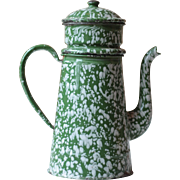 Antique French Green Enamel Cafetière, or Coffee Pot