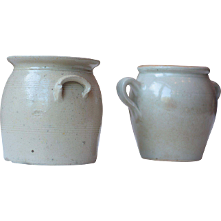 Pair of Small Antique French Stoneware Pots