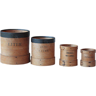 Set of 4 French Graduated Measuring Pots in Wood