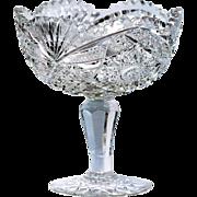 Antique American Brilliant Period Cut Crystal Compote Comport Vase Bowl