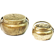 Pair of Antique Chinese Paktong Brass Bronze Hand warmer Late 1800's Qing Dynasty FREE SHIPPING