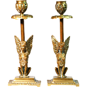 Pair French Egyptian Revival Golden Brass Winged Sphynx Candlesticks Free Shipping