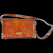 Retro Made in Italy Alligator Lizard Purse Handbag Clutch Cognac Brown Brass Hardware