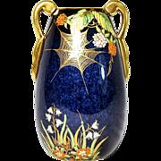 Carlton Ware Bleu Royale Spider Web Vase 1930's Art Deco Free Shipping
