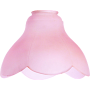 "NEW Old Stock 60's Large 7"" Pink Satin Flower Glass Shade Made in Italy"