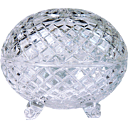 NEW Old Stock West Germany Leaded Cut Crystal Lidded Vase Lamp Base FREE S/H
