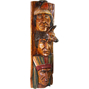 Large 40 Inches Tall Native Totem Pole by Debbie Craig with Wolf and Eagle Wood Carved Sculpture