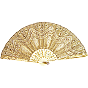 Antique French Hand Fan Eventail with Gold Sequence