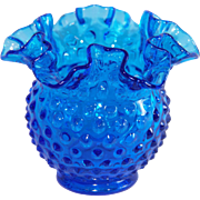Fenton Cobalt Blue Ruffle Edge Hobnail Vase
