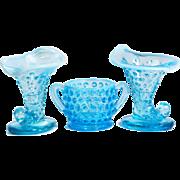 3 Fenton Hobnail Blue Cornucopia Sugar Bowl Opalescent Milk Art Glass