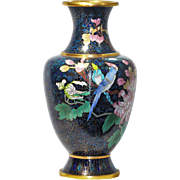 Vintage Asian Japanese Blue Cloisonne Vase - Very Good Quality