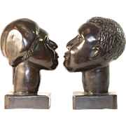 Vintage African Hand Carved Ebony Wood Tribal Folk Art Man Woman Head Sculptures