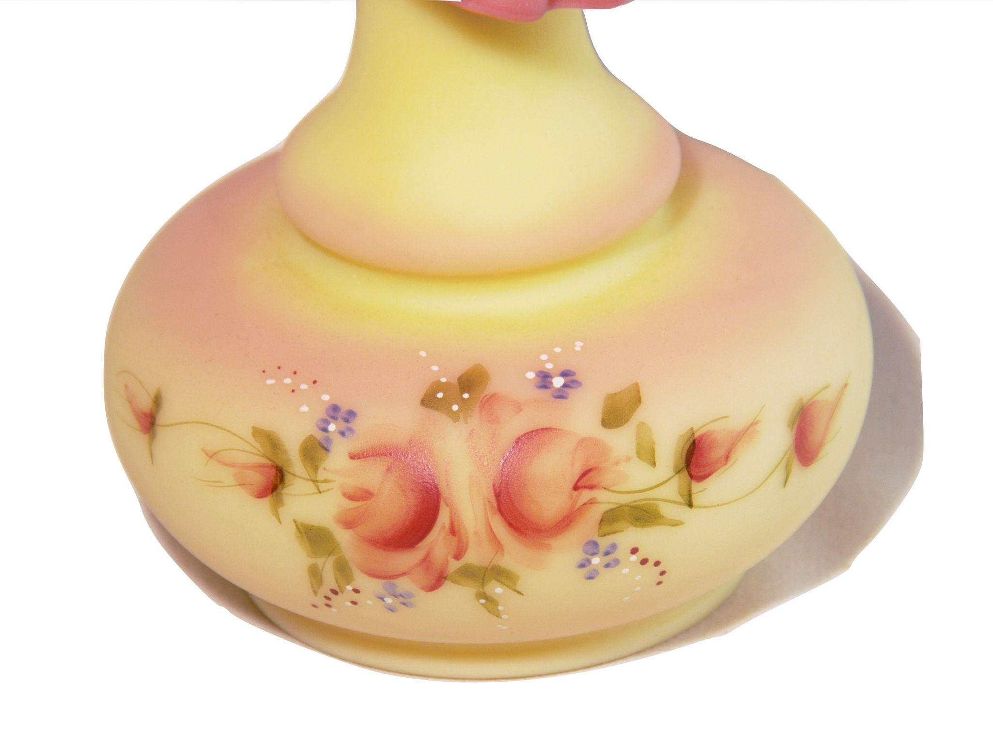 Vintage fenton burmese rose and yellow ruffle vase hand painted by roll over large image to magnify click large image to zoom floridaeventfo Gallery