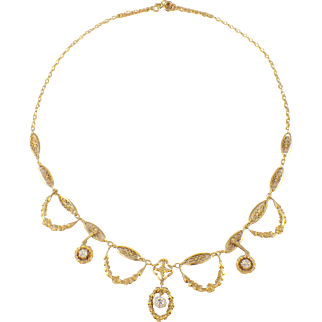 Antique 18K Yellow Gold Diamond Necklace