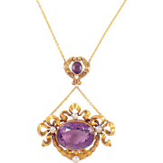 14K Yellow Gold Art Nouveau Amethyst and Pearl Pendant