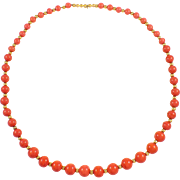 Antique 14K Yellow Gold Coral and Bead Necklace