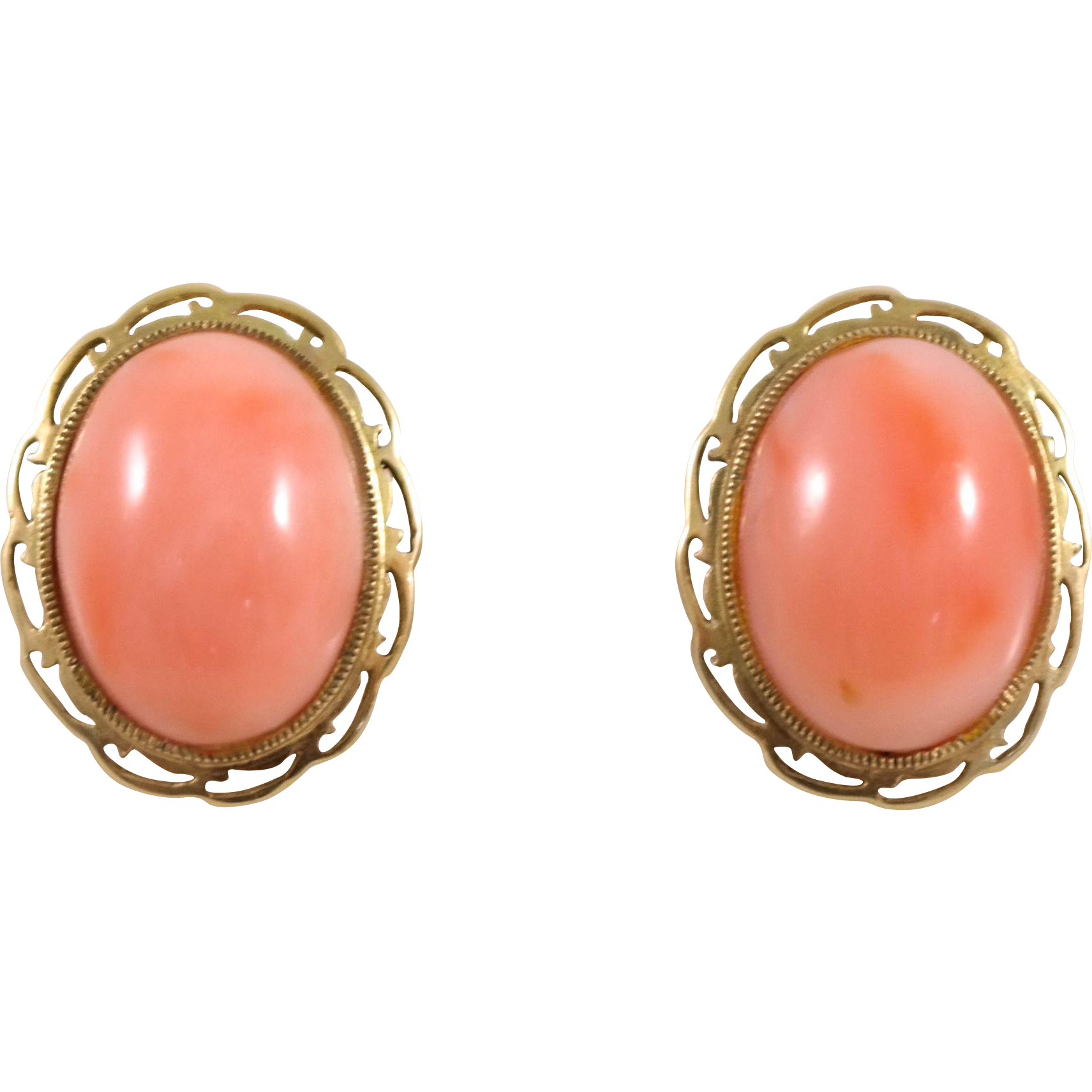 14k yellow gold coral earrings from attosestatejewelry on