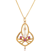 14K Yellow Gold Ruby and Pearl Arts and Crafts Lavalliere