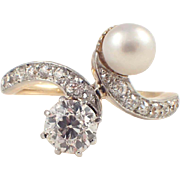 Edwardian Platinum and Gold Pearl and Diamond Ring