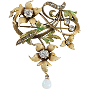 Art Nouveau 14k Yellow Gold Diamond, Opal, and Enamel Brooch