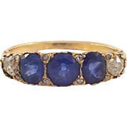 Victorian 18k Yellow Gold Sapphire and Diamond Ring