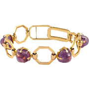 Retro 18k Yellow Gold Amethyst Bracelet