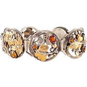 Art Deco Silver over 14k Yellow Gold Citrine and Pearl Bracelet