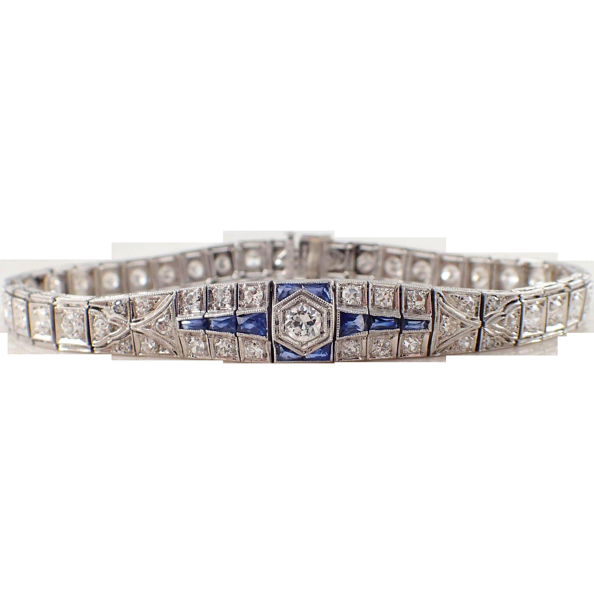 platinum diamond and sapphire art deco bracelet from