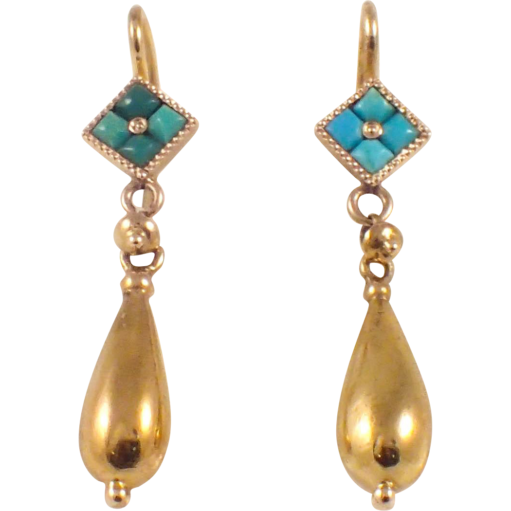 antique 14k yellow gold turquoise earrings from. Black Bedroom Furniture Sets. Home Design Ideas