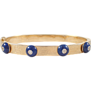 14K Yellow Gold Enamel and Diamond Bangle Bracelet