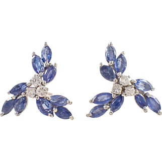 14K White Gold Sapphire and Diamond Earrings