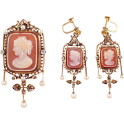 Victorian 14k Yellow Gold Cameo Brooch and Earring Set