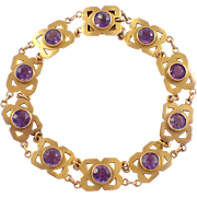 Arts and Crafts 14k Yellow Gold Amethyst Bracelets