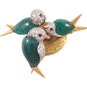 1930s 18k Yellow Gold and Platinum Emerald, Diamond, and Ruby Bird Brooch