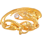 14K Yellow Gold Sapphire Griffin Brooch