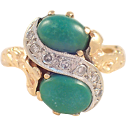 "14K Yellow Gold Turquoise and Diamond ""Cortessa"" Ring"