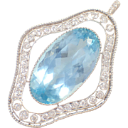 Platinum Art Deco Aquamarine and Diamond Marcus and Co. Pendant
