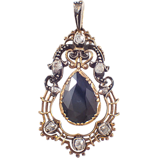 Silver over Gold Antique Tourmaline and Diamond Pendant