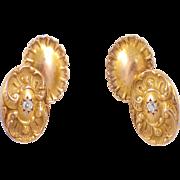 Art Nouveau 14k Yellow Gold Diamond Cufflinks
