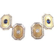 Art Deco 14k White Gold and Platinum Sapphire and Diamond Wordley, Allsop & Bliss Co. Cufflinks