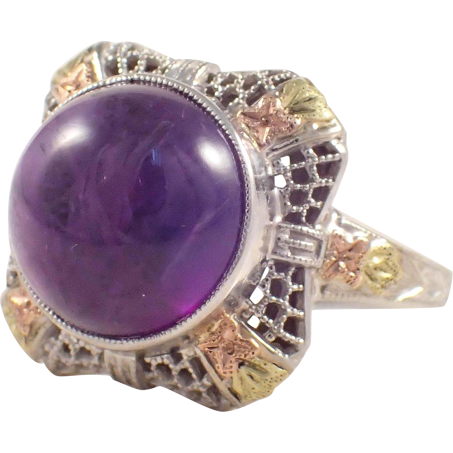 art deco 14k yellow and rose gold amethyst ring from attosestatejewelry on ruby lane. Black Bedroom Furniture Sets. Home Design Ideas