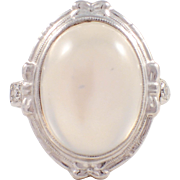 Art Deco 14k White Gold Moonstone and Diamond Ring