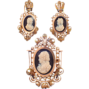 Victorian 14k Rose gold Hard Stone Cameo Set
