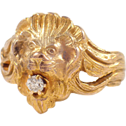 Antique 14k Yellow Gold Lion Ring