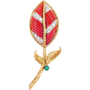 18k Yellow Gold and Platinum Coral, Diamond, and Emerald Brooch
