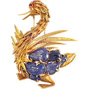 18K Yellow Gold French Sapphire and Ruby Duck Brooch