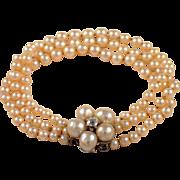 14K White Gold Pearl and Diamond Bracelet