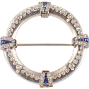 Platinum and 14K White Gold Art Deco Crystal, Sapphire and Diamond Brooch