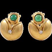 18K Yellow Gold Tourmaline and Diamond Earrings
