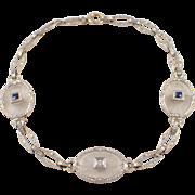 Art Deco 14K White Gold Crystal, Sapphire and Diamond Bracelet